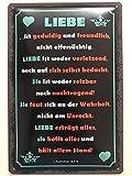Cartel de metal de 20 x 30 cm con texto 'Liebe ist Sprüche Tin Sign'