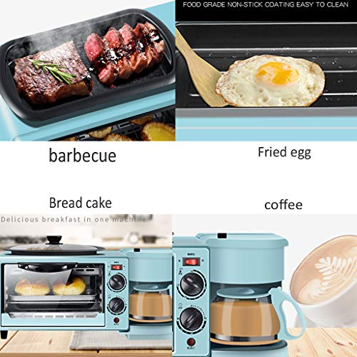 Grille-Pain 3 en 1 Cafetière Familiale Breakfast Maker Center avec Bouilloire Pot Antiadhésif Four 9L Timing 30Min pour Toast Ailes De Poulet Steak Bleu