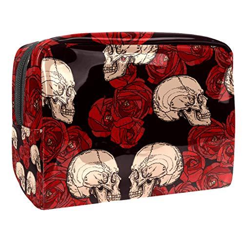 Bolsa de cosméticos para Mujeres Cráneos góticos Vintage y Rosas Rojas. Bolsas de Maquillaje espaciosas Neceser de Viaje Organizador de Accesorios