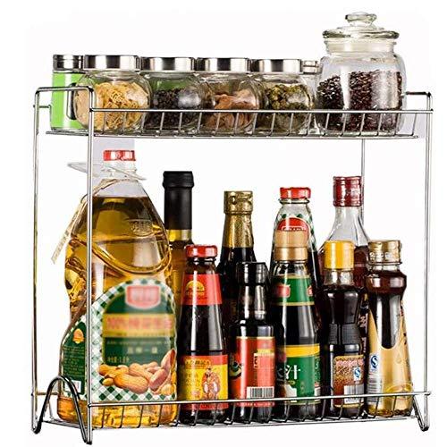 Detazhi Rack de Almacenamiento de encimera de Cocina de 2 Capas para condimentar tarros, latas, Botellas y Otros artículos, Bastidor de condimentos multifunción, l (Size : Xsmall)