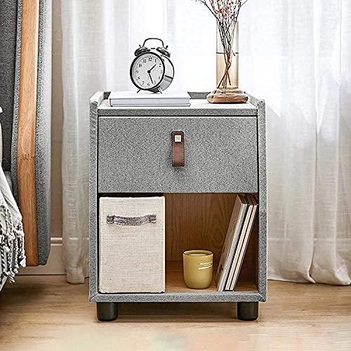 Snyggt nattduksbord, modernt massivt trä sängskåp smalt sidoförvaringsskåp, sängbord med 1 låda och öppet spår, naturlig ek (färg: grå)