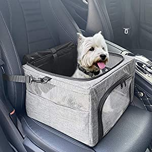 SlowTon Dog Booster Car Seat, 2020 New Reinforce Metal Frame Pet Car Seat | Safer Travel with Top Cover & Seatbelt | Portable Collapsible Puppy Bag | for Small Medium Doggie Cat up to 15lbs