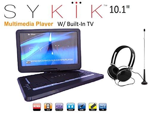Sykik SYDVD9116 TV 10.1'' Inch All Multi Region Zone Free HD Swivel Portable DVD Player with Digital TV Atsc Tuner,USB,SD Card Slot with Headphones, Ac Adaptor,car Adaptor Remote Control