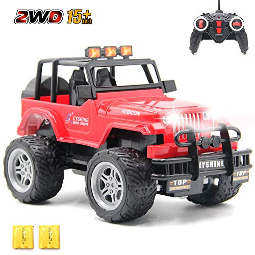 CISAY Rc Cars,6062 Remote Control Car,1/18 Scale 15km/h,2.4Ghz 2WD Convertible Buggy,with Car Light and 2 Rechargeable Batteries,Give The Child Best The Gift (Red)