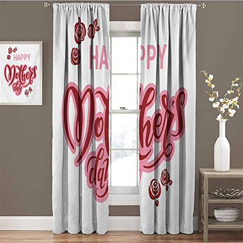 GUUVOR Quote Blackout Curtain Set Happy Mothers Day Greeting Text in Pink and Red Shades with Rose Blooms Kindergarten Shading Insulation W42 x L95 Inch Pale Pink Ruby and White