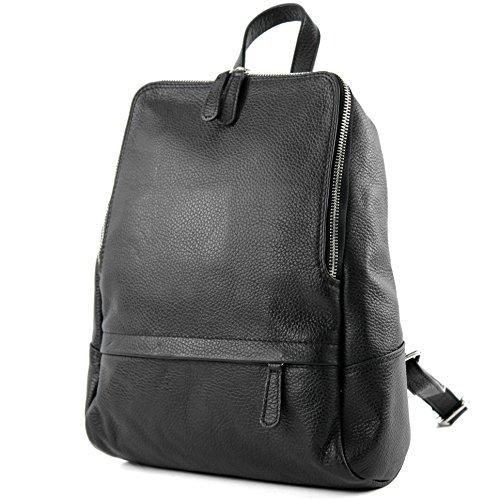 modamoda de - T138 - ital Damen Rucksacktasche aus Leder, Farbe:Schwarz