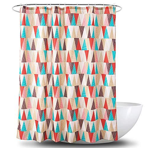 Alumuk Duschvorhänge Duschvorhang Anti-Schimmel Bad Vorhang Textil aus Polyester Stoff Wasserabweisend Shower Curtain Anti-Bakteriell mit 12 Duschvorhangringen (Dreieck, 120 x 200 cm)