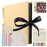 Álbumes de Fotos Scrapbook, Kit de Álbum de Fotos con 80 Páginas Negras (40 Hojas), Álbum de Fotos DIY con Bolígrafo Metálico de 12 Colores, Regalo de Cumpleaños/Aniversario/Boda/Graduación (marrón)