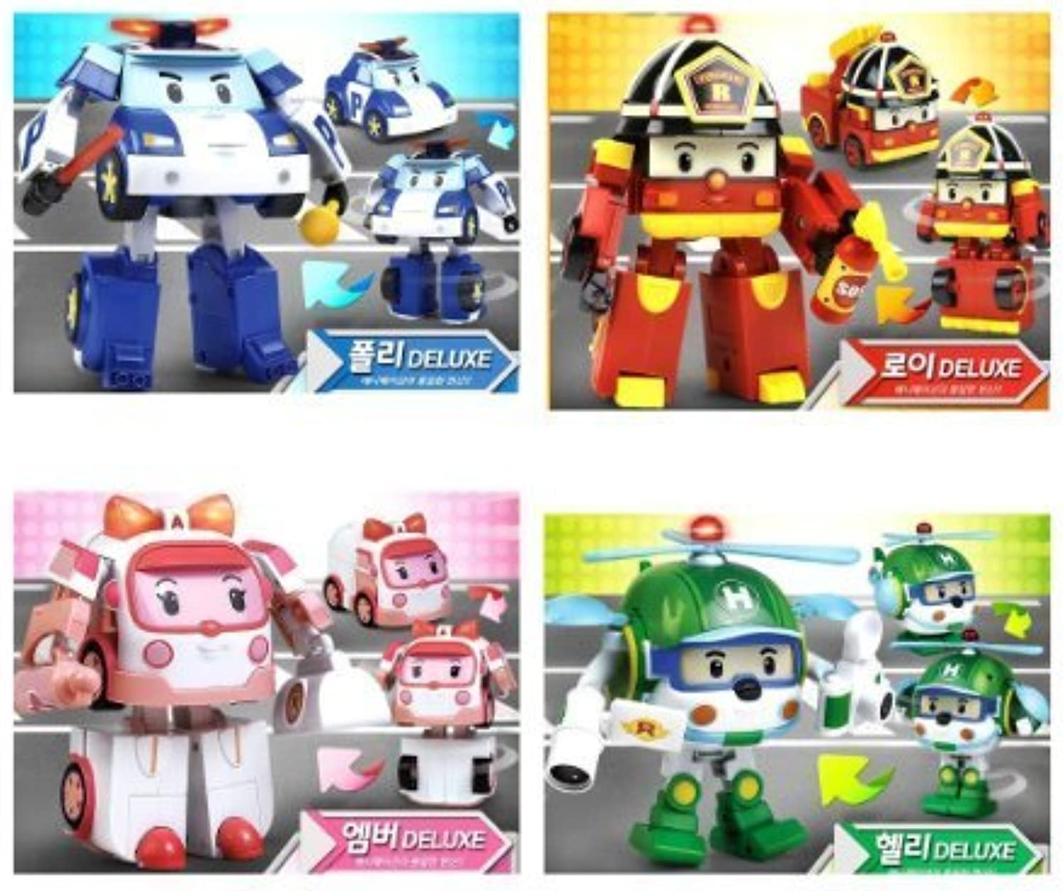Deluxe Transformable Robocar Poli Toy SET [Poli+Amber+Roy+Helly], Special Limited Edition by Academy