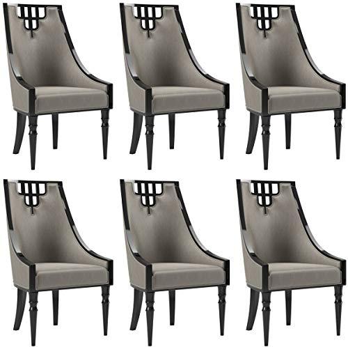 Casa Padrino Art Deco Esszimmer Stuhl Set Grau/Schwarz 55 x 55 x H. 105 cm - Edles Küchen Stühle 6er Set - Art Deco Esszimmer Möbel
