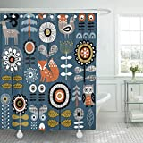 JOOCAR Design Duschvorhang, dunkelblau, skandinavische Zeichnung von Blumen, Waldtiere, wasserdichter Stoff, Badezimmer-Dekor-Set mit Haken