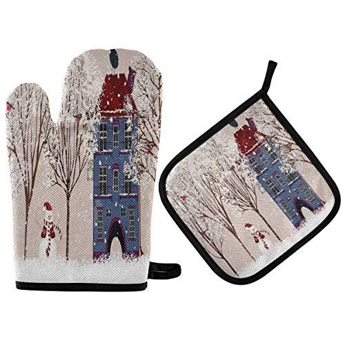 AEMAPE Navidad muñeco de Nieve Manoplas y Soportes para ollas Conjuntos Copo de Nieve de Invierno Cardinal Bird Guantes para Horno Almohadillas Calientes aislables Lavables
