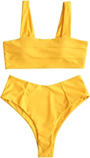 Women's High Waisted Wide Straps Square Neck Bikini Set Side Boning Padded Swimsuit