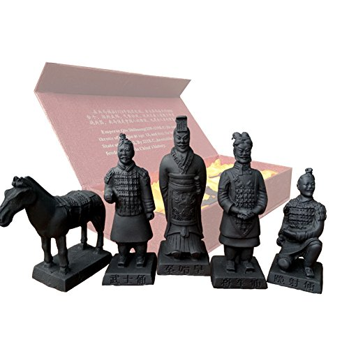 Resin Terracotta Warriors, Antique Reproduction China Qin Dynasty Terracotta Warrior Sculpture Home Display Table Display Bonsai Display Multi Presentation in Gift Box (Set of 5 (3.5' Tall))