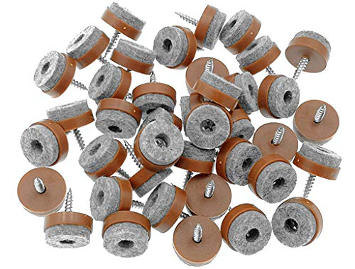 40pcs Furniture Glide,Screw-on Felt Pad Slider Floor Protector for Wooden Leg Feet of Chair Table Sofa(?20mm or 0.8,Brown)