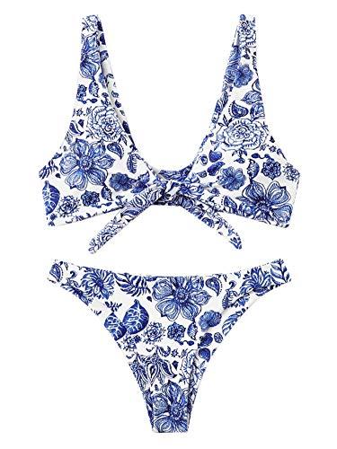 SweatyRocks Women's Bikini Tie Knot Front Swimsuit China Print High Waist Swimwear Set