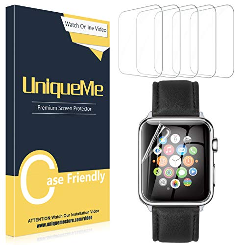UniqueMe [5 Pack] Protector de Pantalla para Apple Watch 40mm Series 4/5, [Fácil instalación] Soft HD Clear Protector Pantalla para Apple Watch 40mm Serie 4/5