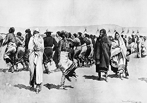 Remington Ghost Dance NThe Ghost Dance By The Ogallala Sioux At The Pine Ridge Agency Dakota Drawing By Frederick Remington From Sketches Taken On The Spot 1890 Poster Print by (24 x 36) -  Granger Collection, GRC0005859LARGE