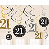 amscan 9900566 21st Swirl Decoration Value Pack Glittery Gold(12 Piece) -1 Pack, 21