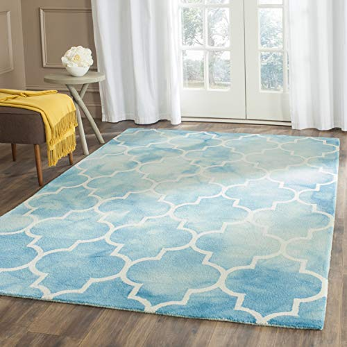 Safavieh Dip Dye Collection DDY535D Handmade Moroccan Watercolor Premium Wool Area Rug, 5' x 8', Turquoise / Ivory
