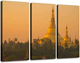 shwedagon pagoda during the sunrise in yangon township of myanmar Wall Artwork Exclusive Photography Vintage Abstract Paintings Print on Canvas Home Decor Wall Art 3 Panels Framed Ready to Hang