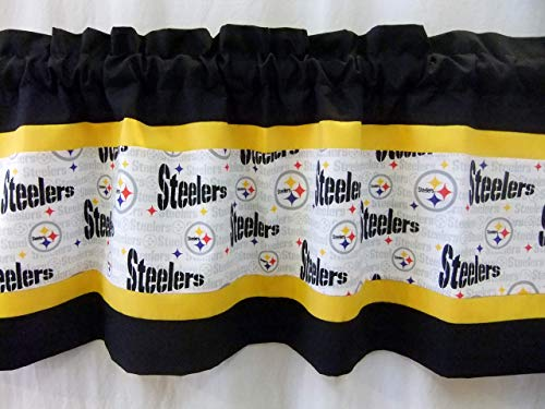 Custom Designed Pittsburgh Steelers (white) Valance Choose: 40', 52' or 80' Width X 13' Length with or without lining NFL Football