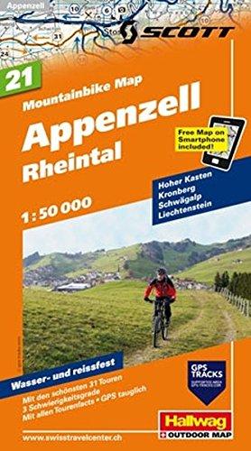 Mountainbike-Karte 21 Ostschweiz Appenzell (Rheintal) 1 : 50 000 (Hallwag Mountainbike-Karten)