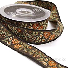 Brown and Rust Wild Rose Jacquard Ribbon Trim, Made in Italy, Sold by The Yard