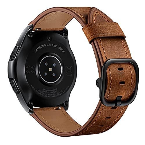 Correa para Samsung Galaxy Watch 45/46mm, Correa de Repuesto de Cuero, para Samsung Galaxy Watch 1/3, con Hebilla, para Hombre y Mujer,Coffee,45/46mm