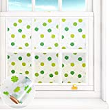 VEELIKE Privacy Stained Glass Window Film Frosted Tint Window Decals Decorative Static Cling Removable Glass Cover Sun Blocking Anti UV Window Stickers for Home 15.7'' x 354'', Green Four-Leaf Clover