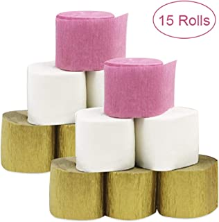 15 Rolls 82ft Crepe Paper Streamers Gold White Pink 3 Color Crepe Paper Party Streamers For Birthday Party, DIY handicrafts, Baby Shower, Wedding Ceremony, Thanksgiving, Christmas Decoration