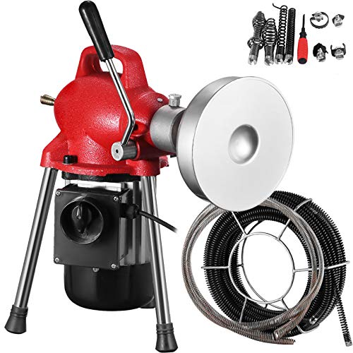 """Mophorn 3/4""""-4"""" Sectional Pipe Drain Cleaning Machine 400PRM Snake Cleaner 500W Pipe Drain Cleaning Machine with 66' x 2/3'' Cable and 8.2' x 1/3'' Cable (Red Color)"""