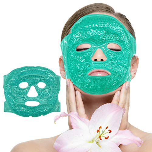 Facial Mask - Get Rid of Puffy Eyes - Migraine Relief, Sleeping, Travel Therapeutic Hot Cold Compress Pack - Gel Beads, Spa Therapy Wrap for Sinus Pressure Face Puffiness Headaches (4)