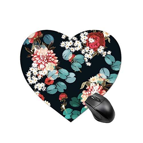 Herzförmiges Mauspad rutschfeste rote Blumen und Gänseblümchen auf dem Baumstamm Schreibtisch Dekor Büro und Zuhause für Computer Laptop PC