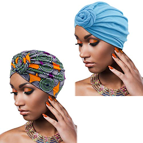 Knemksplanet 2 Packungen afrikanischer Turban-Hut Druckmuster afrikanisches Haar Schals Kappen und Kopfbedeckungen für Frauen -  Blau -  Einheitsgröße
