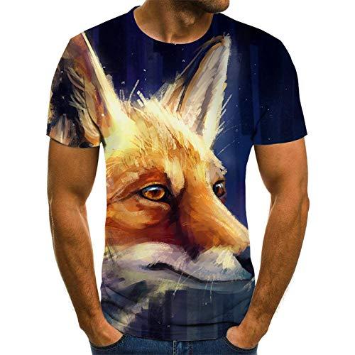 Dier Unisex T Shirt Zomer 3D Gedrukt Korte Mouw Fox Slank Korte Casual Mouw Topjes O-hals Pullover Blouse Tee