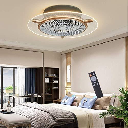 Ventilador de Techo para el hogar con iluminación Fluorescente de Tres Bandas y Ventilador de Control Remoto LED con luz acrílico Redondo Velocidad del Viento Ajustable lámpara Tricolor Regulable