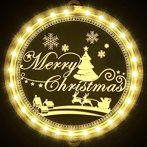 Weihnachten Dekorative Fenster Licht, Hintergrund Lichterketten für Outdoor Indoor Fenster Weg Terrasse Schlafzimmer Party Ferien Wand, Warmweiß (Merry Christmas)