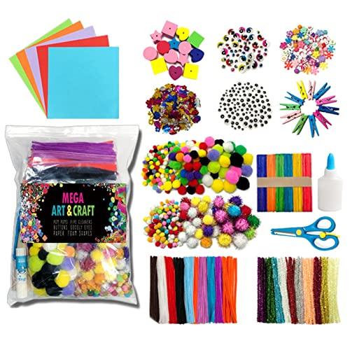 Kstyhome Kit de suministros de arte y manualidades de bricolaje 1200 piezas Juego de materiales de actividades hechos a mano Regalo educativo para estudiantes Escuela Jardín de infantes Artesanía