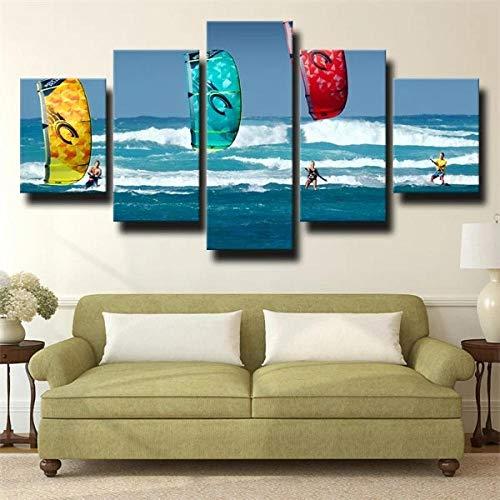 IJNHY 5 Piezas Cuadros Lienzo Deporte Acuático Surf Verano Playa Cuadro sobre Lienzo -5 Piezas- Impresión En Lienzo Salón Decorativo Cuadros Cámara Poster 150X80Cm Mural Listo Colgar Marco