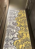 Kapaqua Rubber Backed 22' x 15' Yellow & Ivory Floral Damask Long Runner Non-Slip Rug - Rana Collection Kitchen Dining Living Hallway Bathroom Pet Entry Rugs RAN2089-215