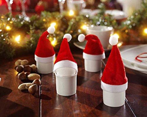 H&B 20 Mini-Deko-Weihnachtsmannmützen Weihnachtsmützen Weihnachtsdeko ca. 11 cm hoch