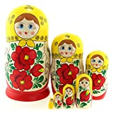Azhna 7 muñecas rusas de 19 cm para souvenir, colección de decoración para el hogar, estilo clásico, pintadas a mano, color rojo vino