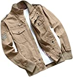 WANGXIAOWEI Mens Casual Windbreaker Stand Collar Jacket Military Bomber Coat Overcoats Jacket,Khaki,3X-Large