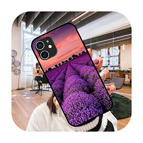 Funda para iPhone 12 Mini 11 Pro XS Max XR X 6 6S 7 8 Plus cubierta negra impermeable suave Etui Fashion Hoesjes Lavender-Q5-iPhone 6 (6S)