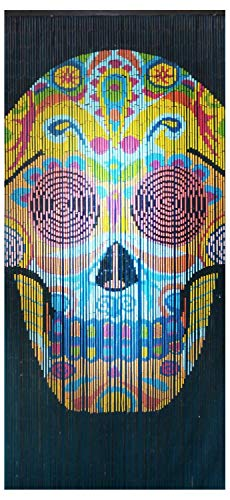 "Beaded String Natural Bamboo Wood Beaded Curtain-90 Strands-80in High-Boho Door Beads-Bohemian Doorway Curtain-35.5"" Wx80 H-Skull"