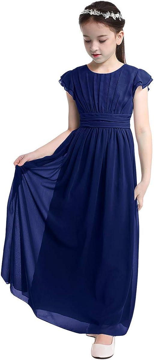 YONGHS Kids Chiffon Flutter Sleeves Flower Girls Dress Princess Wedding Birthday Party Evening Gown