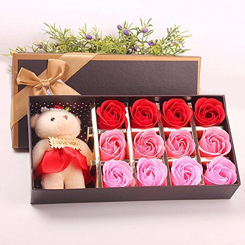 Menshow(メンズショウ) 母の日 花 熊のぬいぐるみ 石鹸の花 枯れない花 クマ付き 綺麗な花束 造花 ソープフラワー ローズフラワー 贈り物 誕生日 バレンタインデー 結婚 お祝い bear-hong