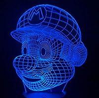 マリオ3D LEDランプ7色のナイトランプは子供タッチLED USBテーブルランプライトベイビー寝室の寝室のランプドロップシッピング