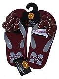 HotFlops New! NCAA Mississippi State Bulldogs Kids Football Flip Flops Beach Sandal Shoes - Size Large (2-3)